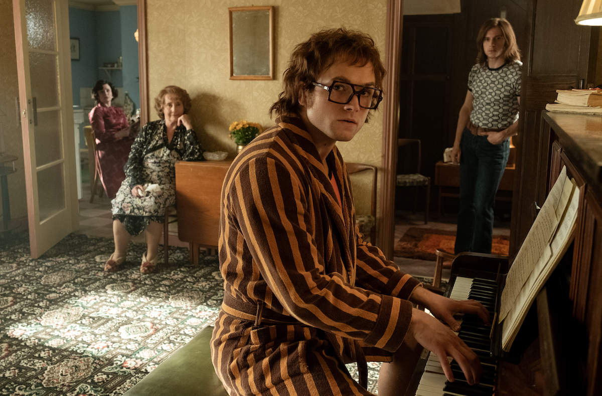 Bryce Dallas Howard plays Sheila, Gemma Jones plays Ivy, Taron Egerton plays Elton John and Jamie Bell plays Bernie in Rocketman from Paramount Pictures.